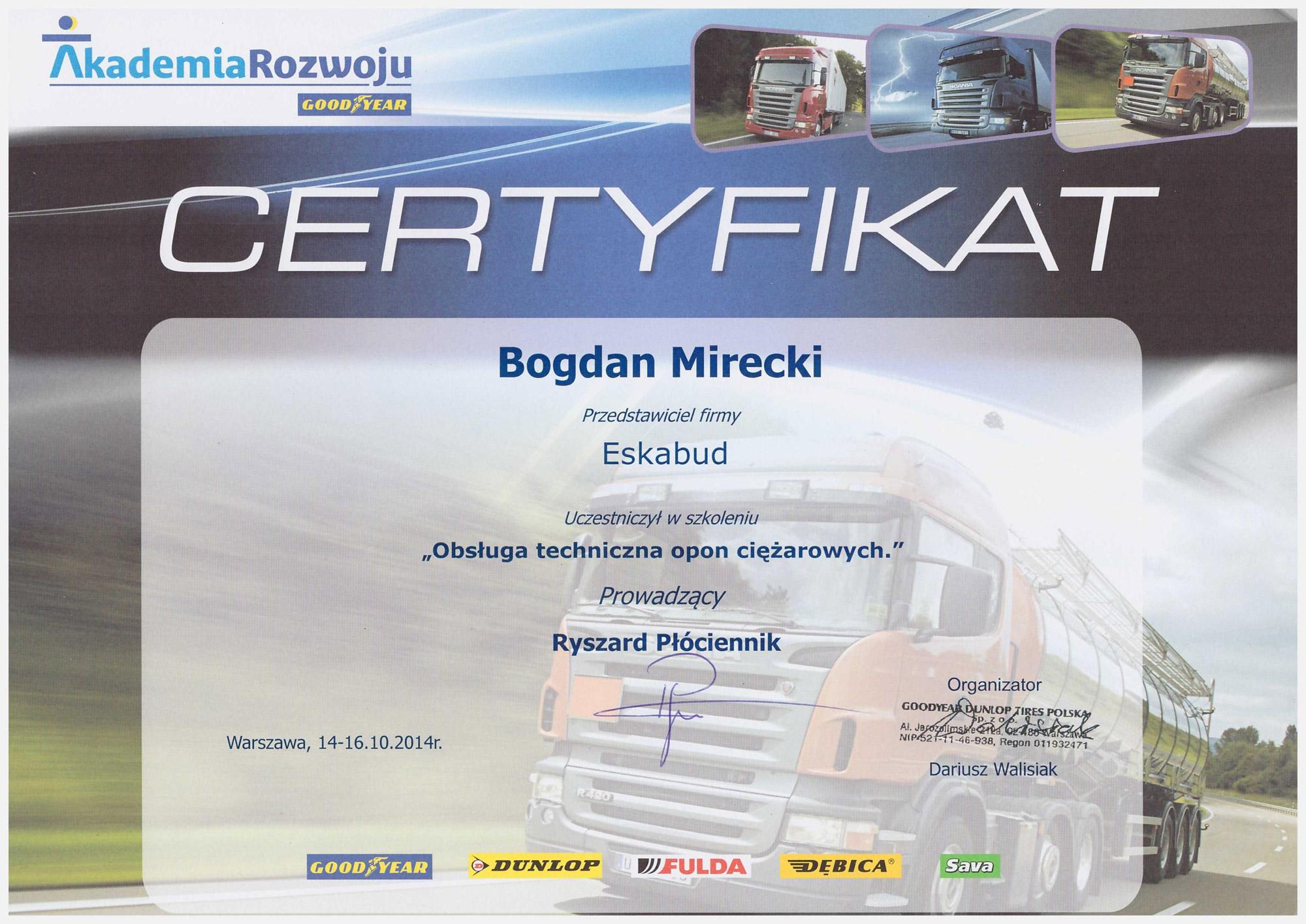 Certyfikowany serwis opon ciężarowych i wielkogabarytowych.