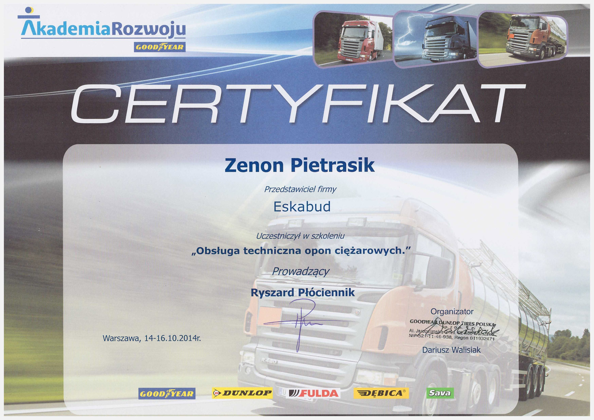 Certyfikowany serwis opon ciężarowych.